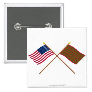 Banderas cruzadas de los E.E.U.U. y del pie Sackvi Pin