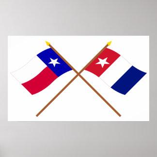 Banderas cruzadas de los voluntarios de Tejas y de Poster