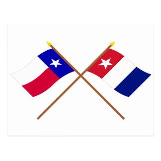 Banderas cruzadas de los voluntarios de Tejas y de Postal