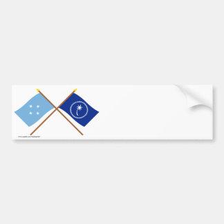 Banderas cruzadas de Micronesia y de Chuuk Etiqueta De Parachoque