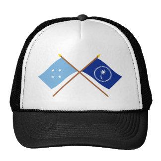 Banderas cruzadas de Micronesia y de Chuuk Gorras