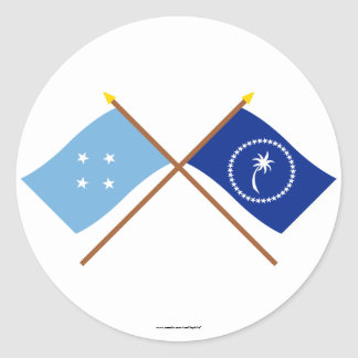 Banderas cruzadas de Micronesia y de Chuuk Pegatinas Redondas