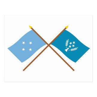 Banderas cruzadas de Micronesia y de Kosrae Postales
