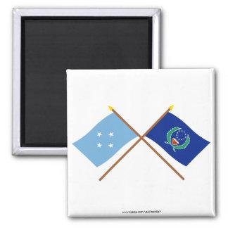 Banderas cruzadas de Micronesia y de Pohnpei Imán Cuadrado