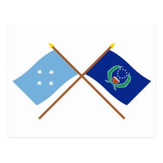Banderas cruzadas de Micronesia y de Pohnpei Postales