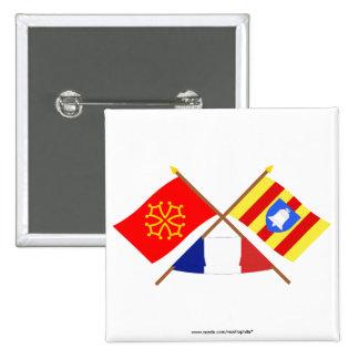 Banderas cruzadas de Midi-Pyrénées y de Ariège Pins