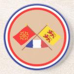 Banderas cruzadas de Midi-Pyrénées y de Hautes-Pyr Posavasos Cerveza