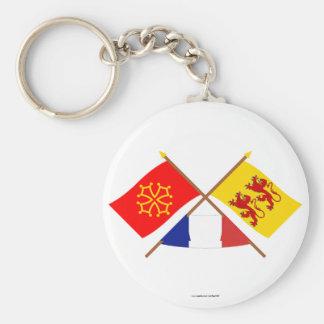 Banderas cruzadas de Midi-Pyrénées y de Llavero Redondo Tipo Pin