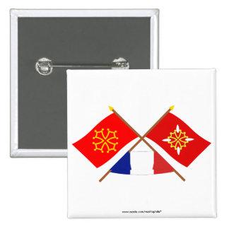 Banderas cruzadas de Midi-Pyrénées y del Haute-Gar Pins