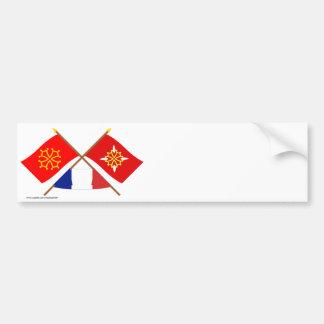 Banderas cruzadas de Midi-Pyrénées y del Pegatina Para Auto
