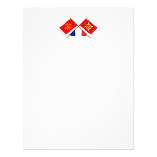 Banderas cruzadas de Midi-Pyrénées y del Plantilla De Membrete