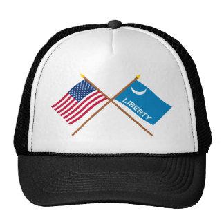 Banderas cruzadas de Moultrie de los E.E.U.U. y de Gorros