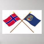 Banderas cruzadas de Noruega y de Oslo Poster