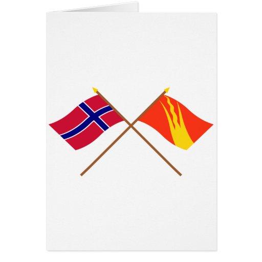 Banderas cruzadas de Noruega y de Østfold Tarjetas
