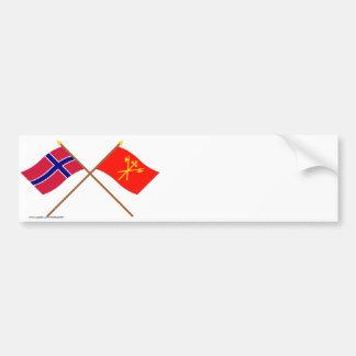 Banderas cruzadas de Noruega y de Sør-Trøndelag Etiqueta De Parachoque