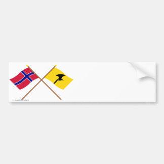 Banderas cruzadas de Noruega y de Telemark Pegatina De Parachoque