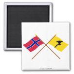 Banderas cruzadas de Noruega y de Telemark Imanes De Nevera