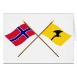 Banderas cruzadas de Noruega y de Telemark Tarjeton