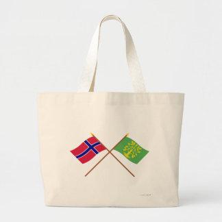 Banderas cruzadas de Noruega y del Chaleco-Agder Bolsa De Mano
