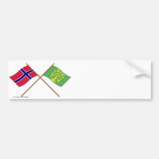 Banderas cruzadas de Noruega y del Chaleco-Agder Etiqueta De Parachoque