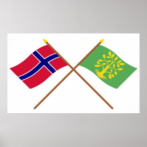 Banderas cruzadas de Noruega y del Chaleco-Agder Posters