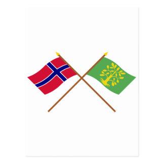 Banderas cruzadas de Noruega y del Chaleco-Agder Postal