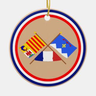 Banderas cruzadas de PACA y de Alpes-de-Haute-Prov Ornamentos De Reyes Magos