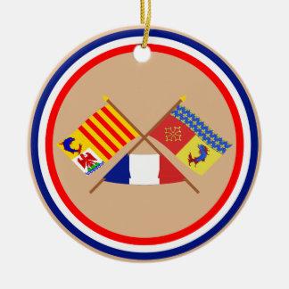 Banderas cruzadas de PACA y de Hautes-Alpes Adorno De Reyes