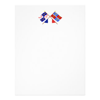 Banderas cruzadas de Picardie y de Somme Membretes Personalizados