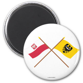 Banderas cruzadas de Polonia y de Dolnośląskie Imanes Para Frigoríficos