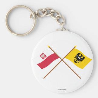 Banderas cruzadas de Polonia y de Dolnośląskie Llaveros