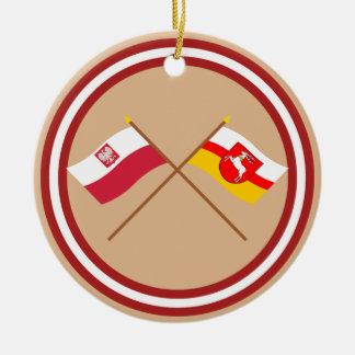 Banderas cruzadas de Polonia y de Lubelskie Adorno Redondo De Cerámica