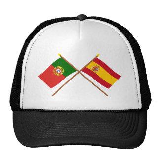 Banderas cruzadas de Portugal y de España Gorro