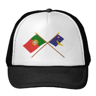 Banderas cruzadas de Portugal y de las Azores Gorro De Camionero