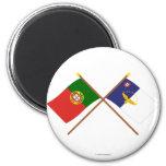 Banderas cruzadas de Portugal y de las Azores Iman De Frigorífico