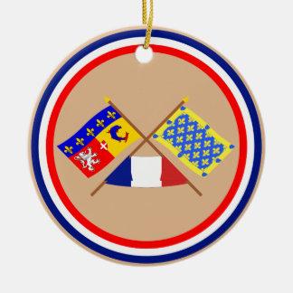 Banderas cruzadas de Rhône Alpes y de Ardèche Adorno Para Reyes