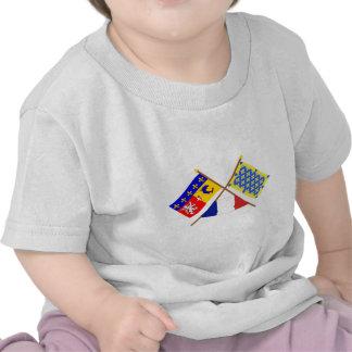 Banderas cruzadas de Rhône Alpes y de Ardèche Camisetas