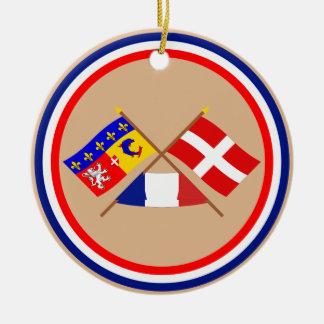Banderas cruzadas de Rhône Alpes y de Haute-Saboya Ornamente De Reyes