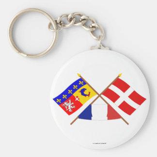 Banderas cruzadas de Rhône Alpes y de Haute-Saboya Llavero Redondo Tipo Pin