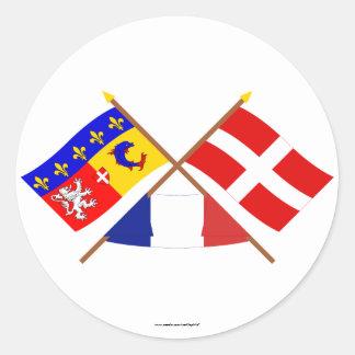 Banderas cruzadas de Rhône Alpes y de Haute-Saboya Pegatina Redonda