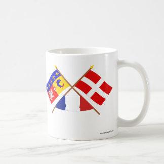 Banderas cruzadas de Rhône Alpes y de Haute-Saboya Taza De Café
