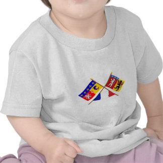 Banderas cruzadas de Rhône Alpes y de Rhône Camiseta