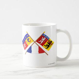 Banderas cruzadas de Rhône Alpes y de Rhône Taza De Café