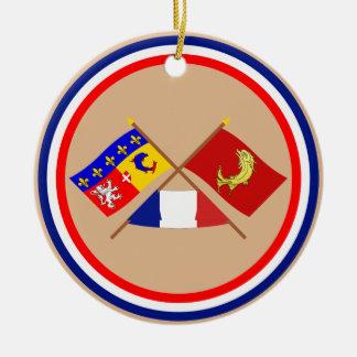 Banderas cruzadas de Rhône Alpes y del Loira Ornato