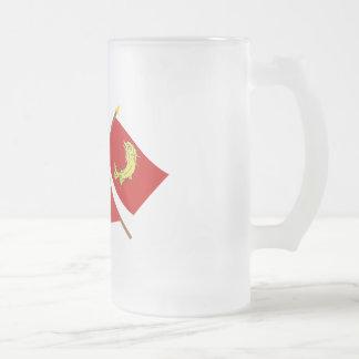 Banderas cruzadas de Rhône Alpes y del Loira Taza De Café