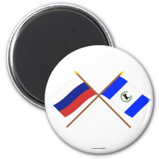 Banderas cruzadas de Rusia y de Irkutsk Oblast Imán Redondo 5 Cm