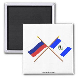 Banderas cruzadas de Rusia y de Irkutsk Oblast Imán Cuadrado