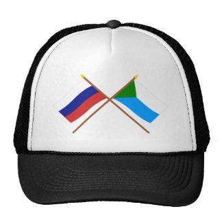 Banderas cruzadas de Rusia y de Jabárovsk Krai Gorro De Camionero