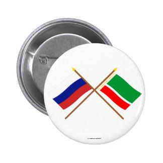 Banderas cruzadas de Rusia y de la república Pin Redondo De 2 Pulgadas