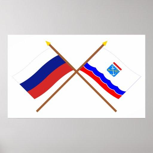 Banderas cruzadas de Rusia y de Leningrad Oblast Impresiones